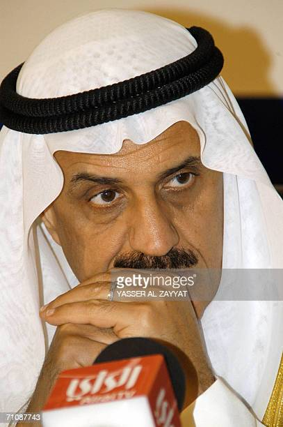 Chairman of the Islamic Development Bank Board of Directors and Kuwaiti Minister of Finance Badr alHumaidhi talks to reporters during a press...