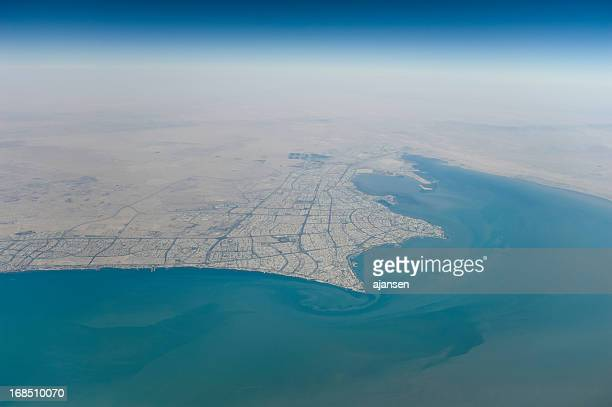 kuwait city seen from the sky - kuwait city stock photos and pictures