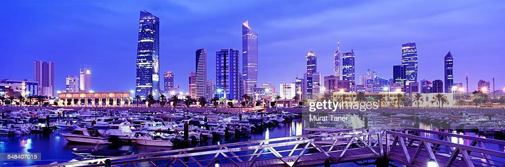 Kuwait City skyline and Al Hamra Tower : Stock Photo