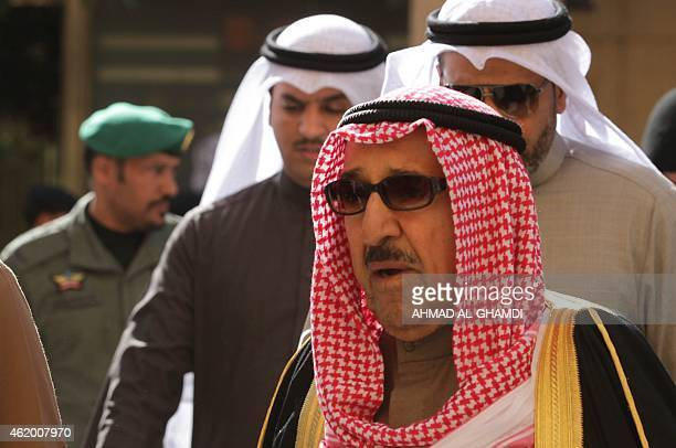 Kuwait Emir Sheikh Sabah alAhmad AlSabah attends the funeral of late Saudi King Abdullah bin Abdul Aziz on January 23 2015 in Riyadh Foreign leaders...