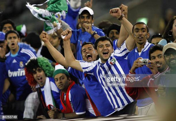 Kuwait fans celebrate victory after the AFC Asian Cup 2011 qualifier match between Australia and Kuwait at Canberra Stadium on March 5, 2009 in...