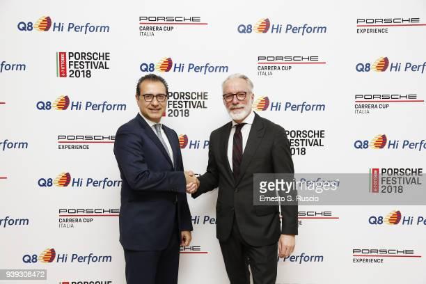 Kuwait Italia Azzam Almutawa and GM Porsche Italia Pietro Innocenti during the unveiling of the partnership between Porsche Italia and Q8 Hi Perform...