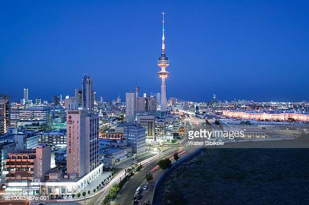 Kuwait, Kuwait City, Cityscape at dusk