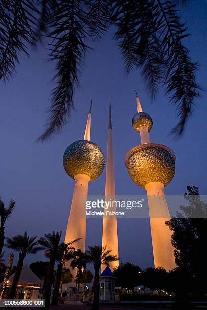 Kuwait, Kuwait Towers, dusk