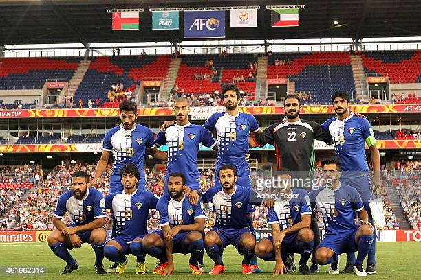 Kuwait team mates line up before the 2015 Asian Cup match between Oman and Kuwait at Hunter Stadium on January 17 2015 in Newcastle Australia