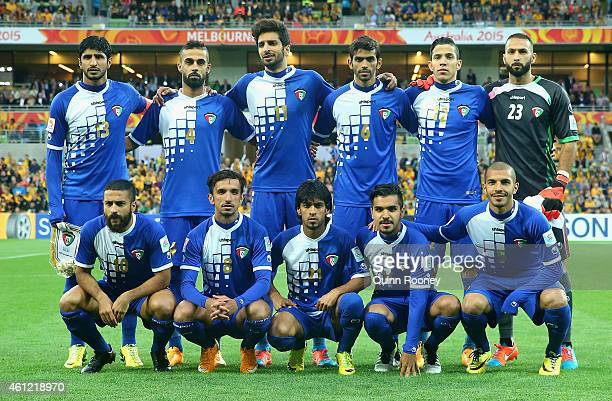 Kuwait team pose during the 2015 Asian Cup match between the Australian Socceroos and Kuwait at AAMI Park on January 9 2015 in Melbourne Australia