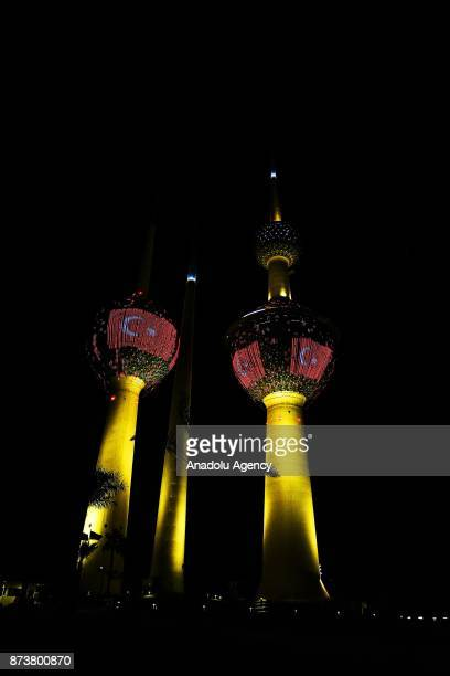 Kuwait Towers are seen as they are illuminated with the colors of Turkish flag on the occasion of President of Turkey Recep Tayyip Erdogan's visit to...