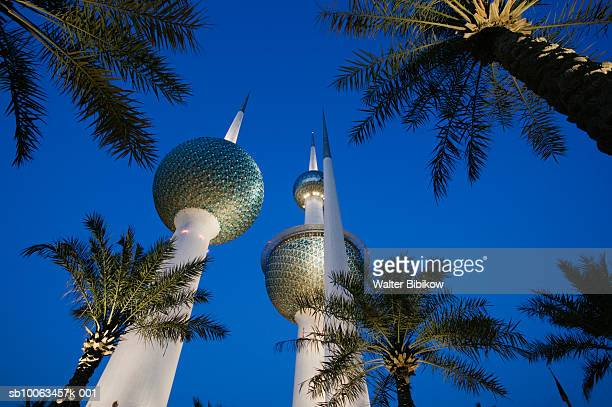 kuwait towers at dusk, low angle view - kuwait city stock pictures, royalty-free photos & images
