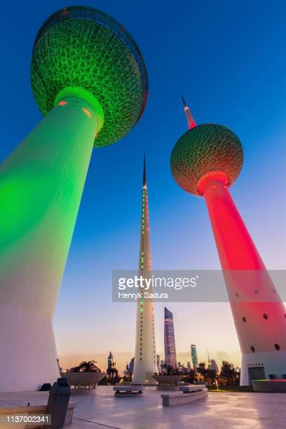 kuwait towers at evening - arabian peninsula stock pictures, royalty-free photos & images