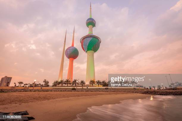 kuwait towers at sunset in kuwait city, kuwait - kuwait stock pictures, royalty-free photos & images