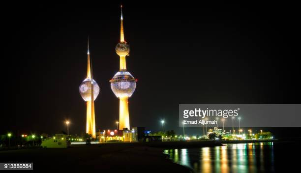 kuwait towers, kuwait city, kuwait - june 12, 2017 - kuwait national day stock pictures, royalty-free photos & images