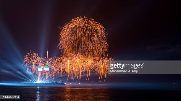 kuwait towers reopening fireworks - kuwait city stock pictures, royalty-free photos & images