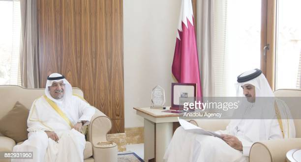 Kuwaiti Ambassador to Doha Muhammad alAcemi meets with Emir of Qatar Sheikh Tamim bin Hamad Al Thani to give an official invitation for Gulf...
