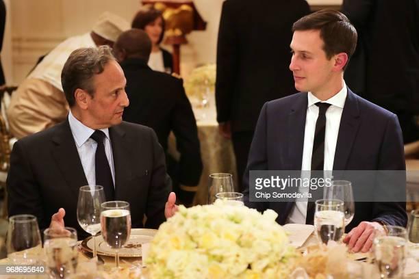 Kuwaiti Ambassador to the United States Salem Abdullah AlJaber AlSabah talks with White House Senior Advisor to the President Jared Kushner before an...