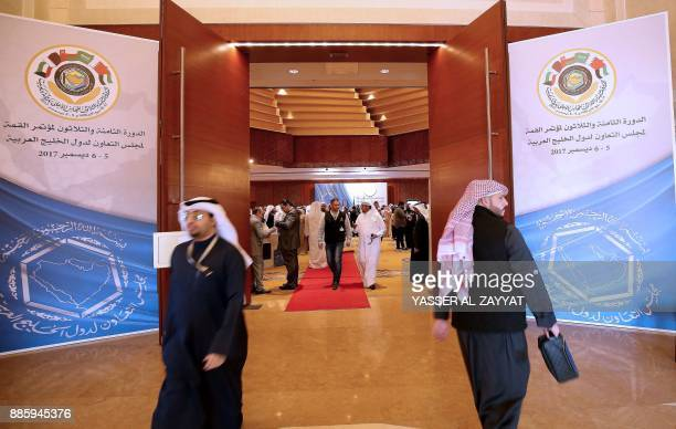 Kuwaiti and foreign journalists gather in the media centre hall during the meeting of the Gulf Cooperation Council in Kuwait City on December 5 2017...