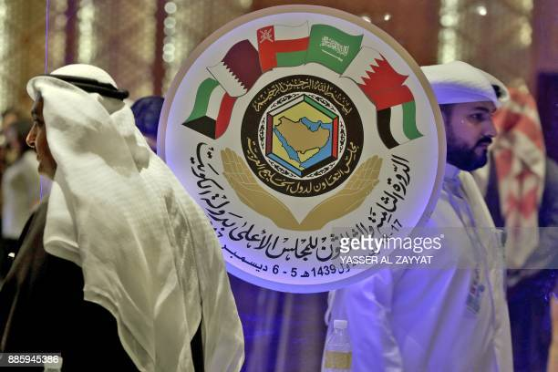 Kuwaiti and foreign journalists gather in the media centre hall during the meeting of the Gulf Cooperation Council in Kuwait City on December 5,...