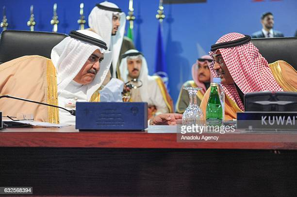 Kuwaiti Deputy Prime Minister and Foreign Minister Sheikh Sabah Khalid Al Hamad Al Sabah and Bahrain Foreign Minister Khalid bin Ahmed Al Khalifa...