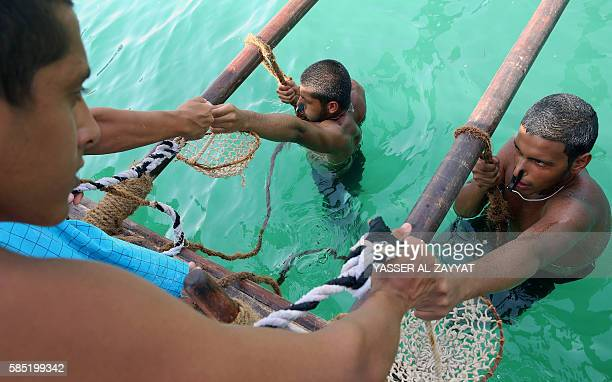 Kuwaiti divers search for shells containing pearls during the annual pearl diving season on August 2 2016 off the coast of the port city of Khairan...