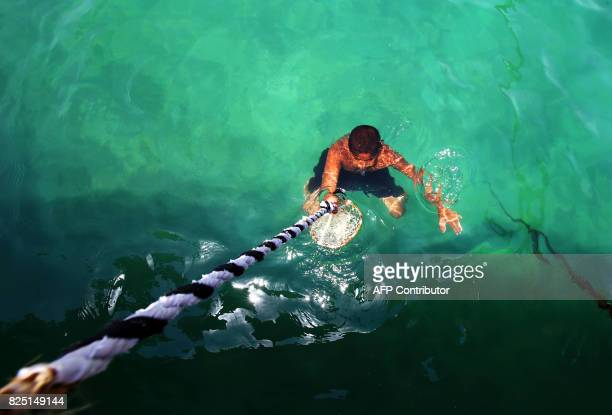Kuwaiti divers search for shells containing pearls during the annual pearl diving season on August 1 2017 off the coast of the port city of Khairan...