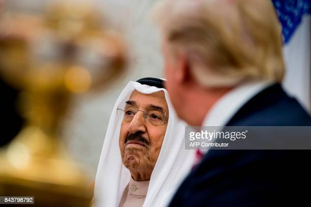 Kuwaiti Emir Amir alAhmed alJaber alSabah and US President Donald Trump meet in the Oval Office of the White House September 7 in Washington DC PHOTO...