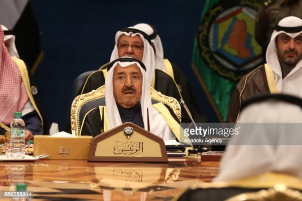 Kuwaiti Emir Sheikh Sabah AlAhmad AlJaber AlSabah attends the opening ceremony of the 38th Gulf Cooperation Council leaders summit in Kuwait City...