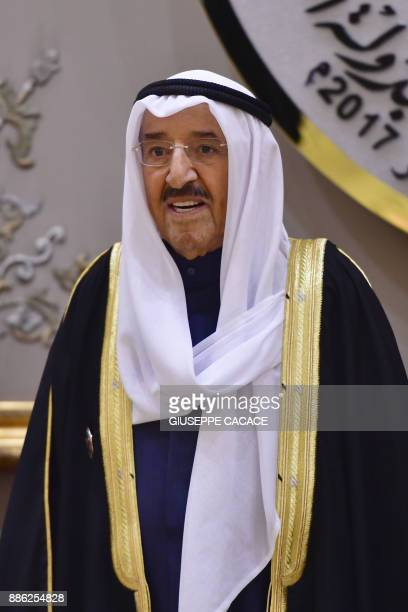 Kuwaiti Emir Sheikh Sabah alAhmad alSabah is seen posing for a family picture at the Gulf Cooperation Council at the Bayan palace in Kuwait City on...