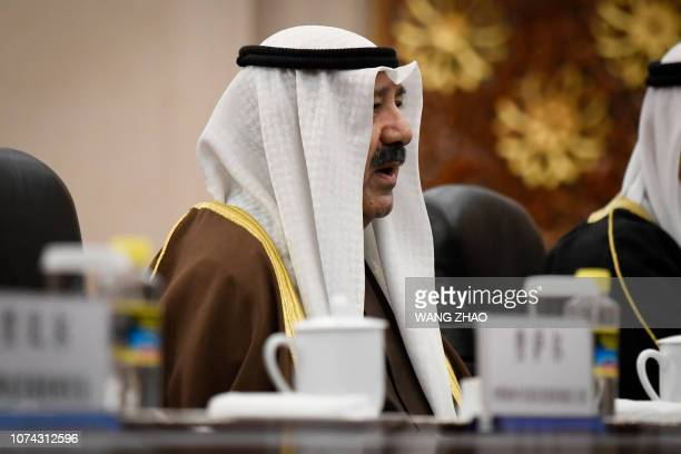 Kuwaiti first Deputy Prime Minister and Minister of Defence Sheikh Nasser Sabah alAhmad alSabah speaks during a meeting with Chinese Vice Premier Han...