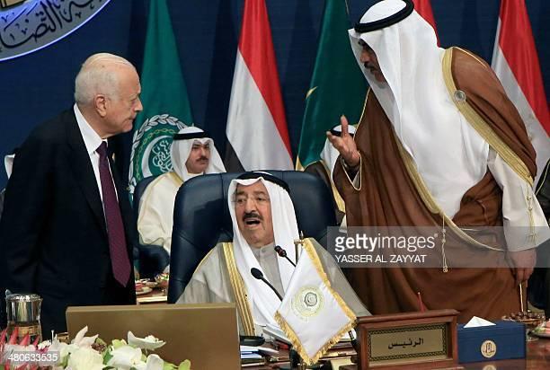 Kuwaiti Foreign Minister Sheikh Sabah alKhaled alSabah and Secretary General of the Arab League Nabil alAraby speak to the Emir of Kuwait Sheikh...
