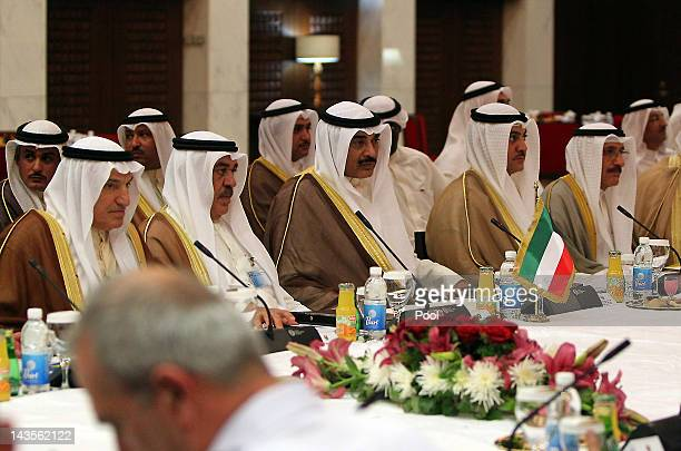 Kuwaiti Foreign Minister Sheikh Sabah alKhaled alSabah attends the joint IraqiKuwaiti Committee meeting on April 29 2012 in Baghdad Iraq Iraq and...
