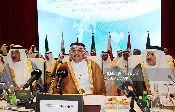 Kuwaiti Foreign Minister Sheikh Sabah alKhaled alSabah Qatari Foreign Minister Khalid bin Mohamed alAttiyah and Gulf Cooperation Council secretary...