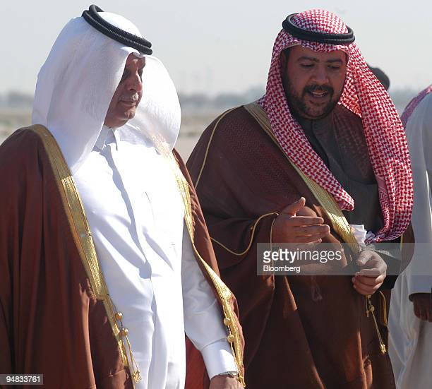 Kuwaiti Minister of Energy Sheikh Ahmad Fahd alSabah right and Abdullah Bin Hamad alAttiyah oil minister Qatar left are seen at Kuwait Airport Sunday...