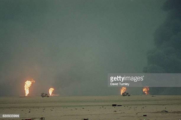 Kuwaiti oil fields burn after retreating Iraqi forces set them on fire   Location Border of Kuwait and Saudi Arabia