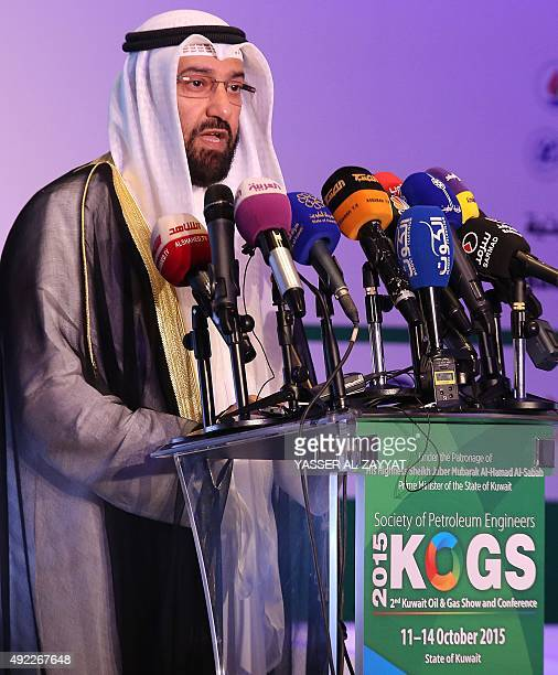 Kuwaiti Oil Minister Ali alOmairi delivers a speech during a conference as part of the Kuwait Oil and Gas show in Kuwait City on October 11 2015 OPEC...