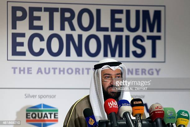 Kuwaiti oil minister and minister of state for national assembly affairs, Ali al-Omair speaks during the opening of a forum to discuss emerging...