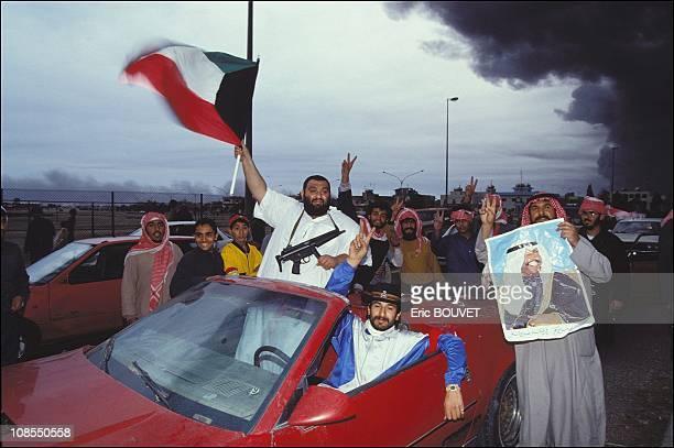 Kuwaiti people celebrating liberation of Kuwait city Kuwait on February 27th 1991