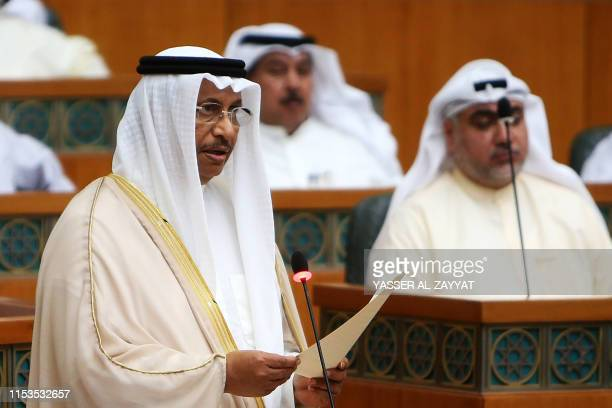 Kuwaiti Prime Minister Sheikh Jaber alMubarak alSabah delivers a speech during a parliament session at Kuwait's National Assembly in Kuwait City on...