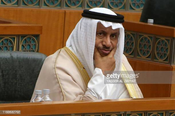 Kuwaiti Prime Minister Sheikh Jaber alMubarak alSabah looks on as he attends a parliament session at Kuwait's National Assembly in Kuwait City on...