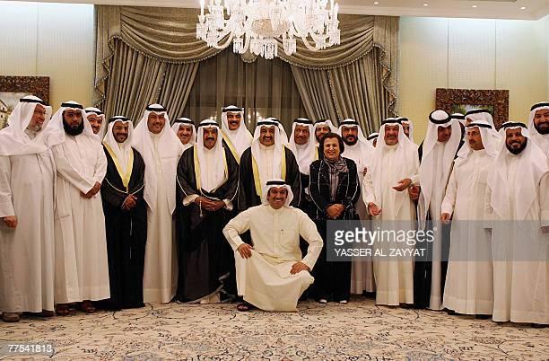 Kuwaiti Prime Minister Sheikh Nasser alMohammed alSabah Parliament Speaker Jassem Mohammed alKharafi and Education Minister Nureyya alSubaih pose for...