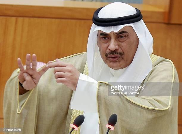 Kuwaiti prime minister Sheikh Sabah al-Khaled al-Sabah speaks during an interpellation session at the national assembly in Kuwait City on September...