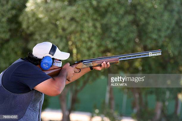 Kuwaiti shooter Naser Meqlad prepares to fire during the men's trap final of the ISSF World Shooting Championships held in Nicosia Cyprus 06...