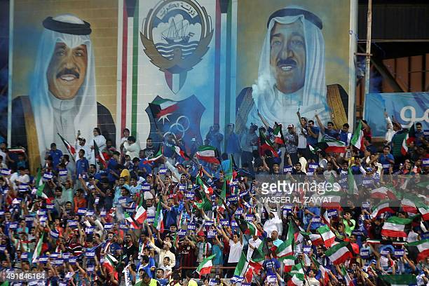 Kuwait's fans cheer their team on ahead of their AFC qualifying football match for the 2018 FIFA World Cup between Kuwait and South Korea on October...