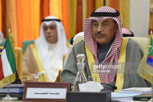 Kuwait's Foreign Minister Sheikh Sabah al-Khalid al-Sabah attends a preparatory meeting for foreign ministers in Tunis on March 29, 2019 ahead of the...