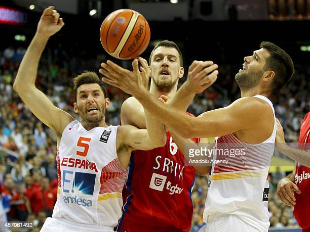 Kuzmic of Serbia is in action during the EuroBasket 2015 group B match between Spain and Serbia at MercedesBenz Arena in Berlin Germany on September...
