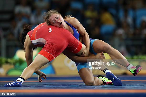 KValeriia Koblova Zholobova of Russia competes against aori Icho of Japan during the Women's Freestyle 58 kg Gold Medal match on Day 12 of the Rio...