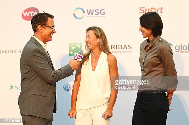 Kveta Peschke of Czech Republic and Katarina Srebotnik of Slovenia attend the doubles draw during day two of the BNP Paribas WTA Finals tennis at the...