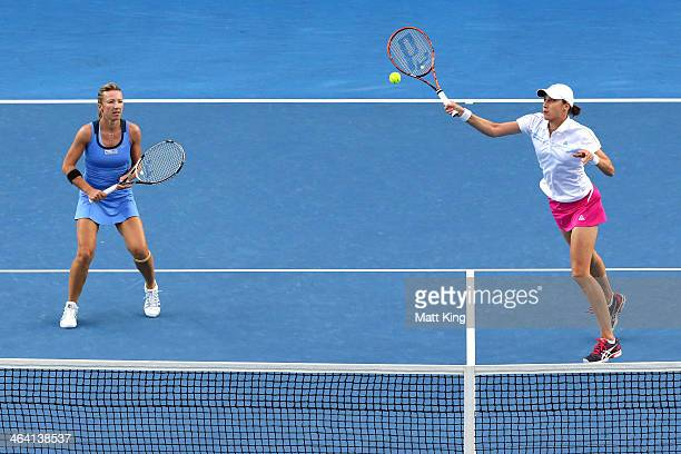 Kveta Peschke of the Czech Republic and Katarina Srebotnik of Slovenia in action in their fourth round doubles match against Jarmila Gajdosova of...