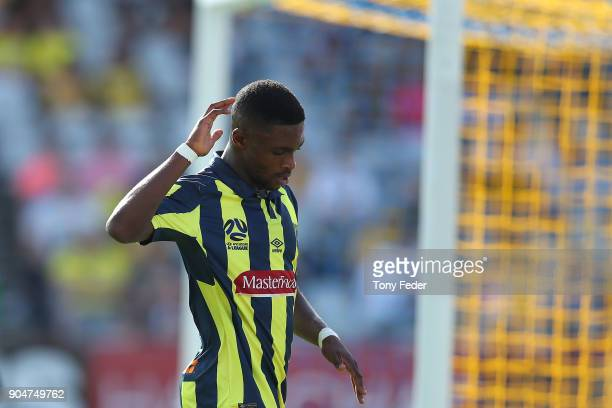 Kwabena Appiah of the Mariners during the round 16 ALeague match between the Central Coast Mariners and Melbourne City at Central Coast Stadium on...