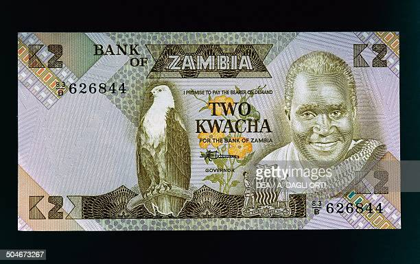 2 kwacha banknote 19801989 obverse depicting Kenneth David Kaunda also known as KK and eagle perched on a branch Zambia 20th century