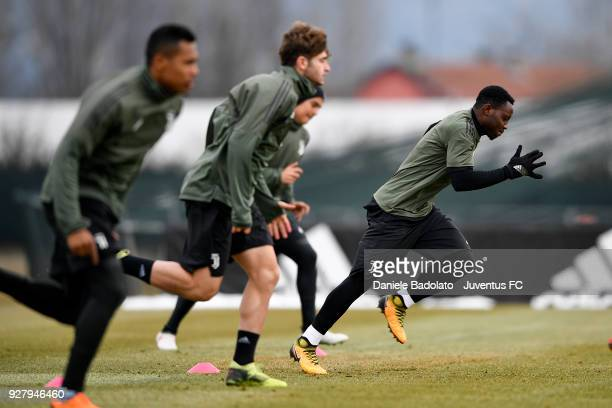 Kwadwo Asamoah during the training session before the Champions League match between Tottenham Hotspur and Juventus at Juventus Center Vinovo on...