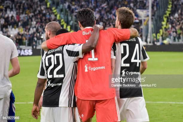 Kwadwo Asamoah Gianluigi Buffon and Daniele Rugani of Juventus in action during the serie A match between Juventus and UC Sampdoria at Allianz...